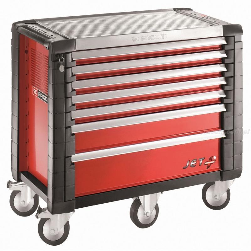 JET.7M5 - wózek JET+, 7 szuflad, 5 modułów na szufladę, czerwony