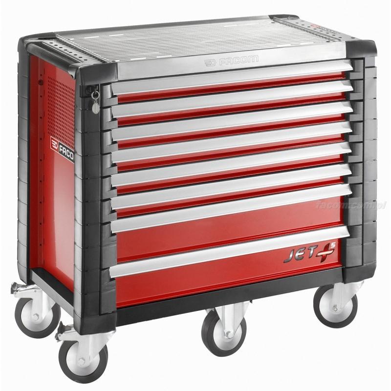 JET.8M5 - wózek JET+, 8 szuflad, 5 modułów na szufladę, czerwony