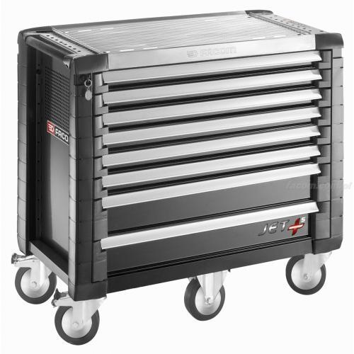 JET.8GM5 - wózek JET+, 8 szuflad, 5 modułów na szufladę, czarny