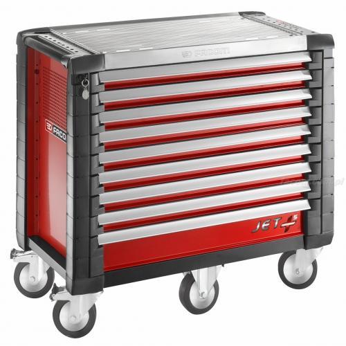 JET.9M5 - wózek JET+, 9 szuflad, 5 modułów na szufladę, czerwony