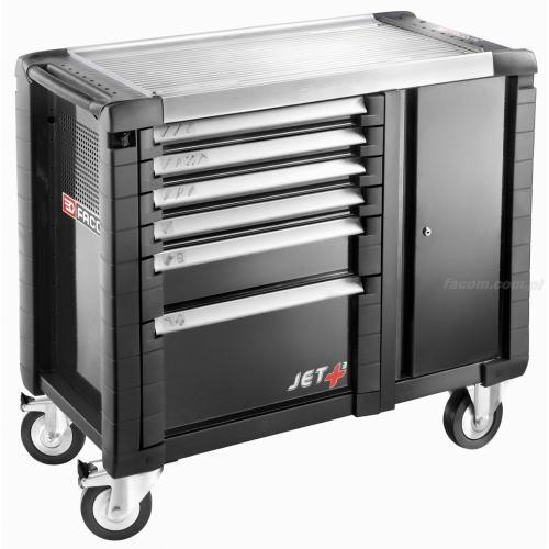 JET.T6GM3 - ruchome stanowisko pracy JET+, 6 szuflad, 3 moduły na szufladę, czarne
