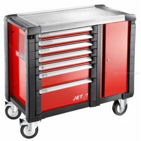 JET.T7M3 - ruchome stanowisko pracy JET+, 7 szuflad, 3 moduły na szufladę, czerwone