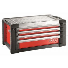 JET.C4M4 - skrzynka JET+, 4 szuflady, 4 moduły na szufladę, czerwona