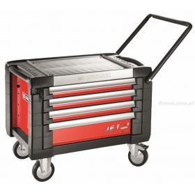 JET.CR4M3 - skrzynka na kółkach JET+ 4 szuflady - 3 moduły na szufladę, czerwona