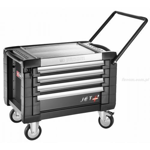 JET.CR4GM3 - skrzynka na kółkach JET+, 4 szuflady, 3 moduły na szufladę, czarna