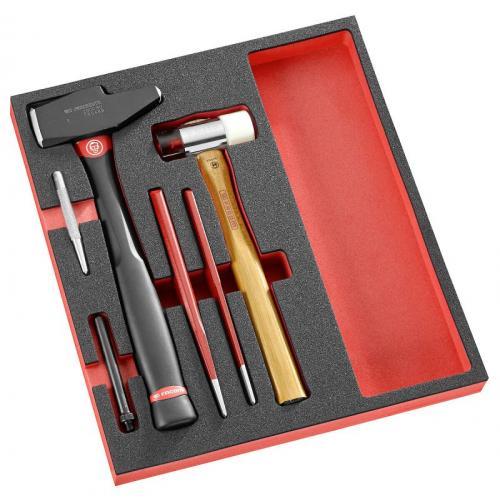 MODM.MI10XL - Moduł narzędzi do pobjania, młotek, dłuto, zestaw przebijaków, na wkładce piankowej