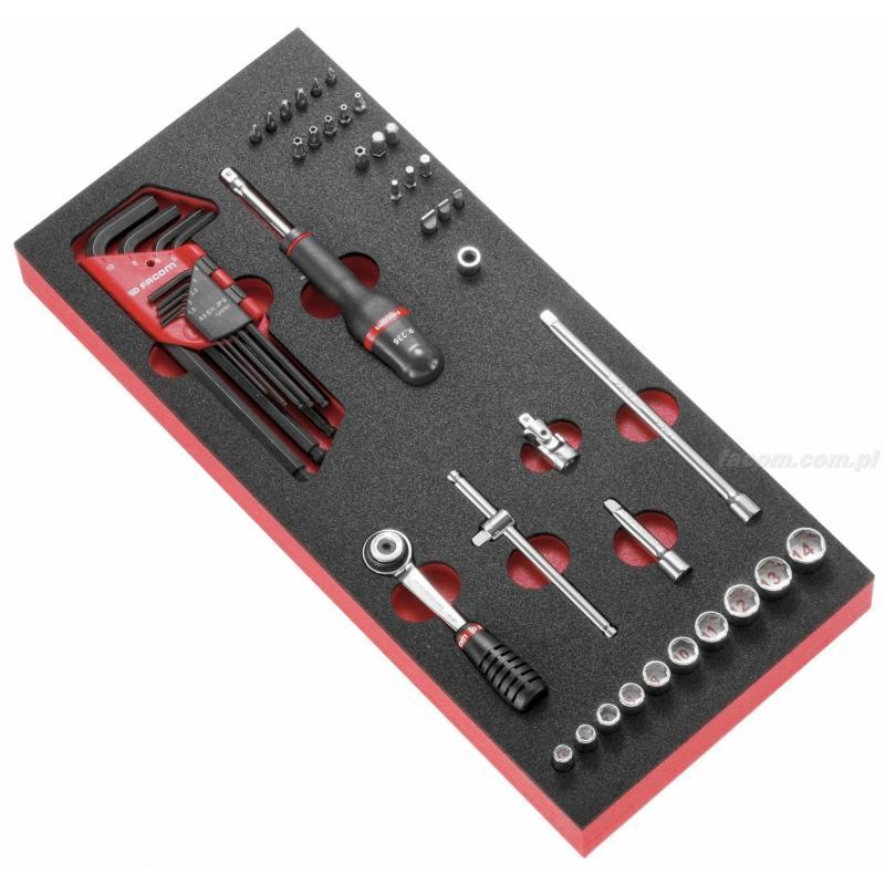"""MODM.R1A - moduł nasadek 6-kątnych 1/4"""" - klucze trzpieniowe i końcówki metryczne na wkładce piankowej"""