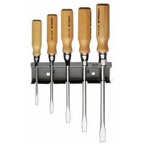 ATHH.JS5 - zestaw wkrętaków z rękojeścią drewnianą do śrub z rowkiem, grot 6-kątny, 5,5 - 12 mm