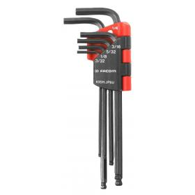 83SH.JP7 – zestaw kluczy trzpieniowych zagiętych, długich z kulką, 6-kątnych, 1,5 - 6 mm