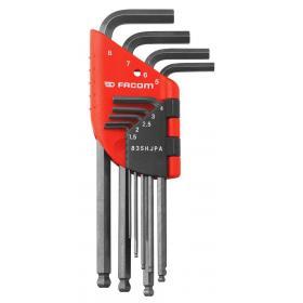 83SH.JPA – zestaw kluczy trzpieniowych zagiętych, długich z kulką, 6-kątnych, 1,5 - 8 mm
