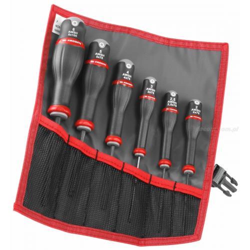 AWSH.JT6 - zestaw kluczy trzpieniowych 6-kątnych osadzanych z kulką, 2 - 6 mm
