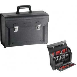 Seria BV.7A - walizka skórzana z opuszczaną częścią przednią, z przegrodami, 445 x 330 x 185 mm